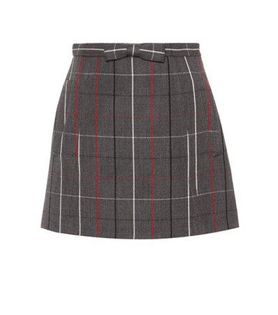 Check wool miniskirt