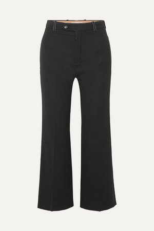 Cropped Twill Flared Pants - Black