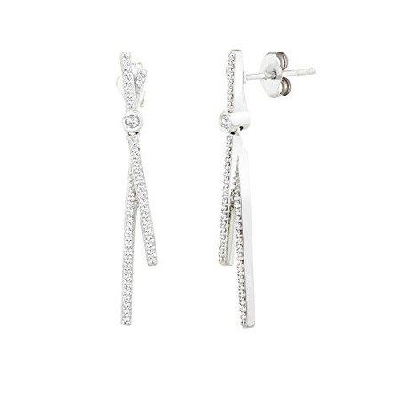 $250 1/5 Cttw Diamond Fashion Earrings In 10K White Gold