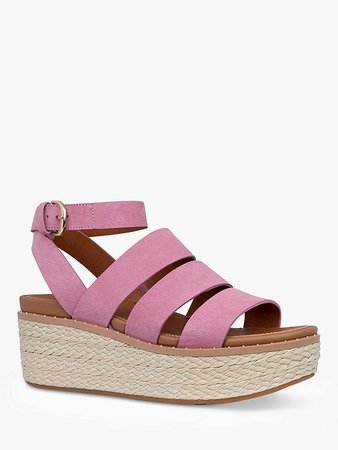 FitFlop Eloise Strappy Leather Wedge Sandals, Heather Pink at John Lewis & Partners
