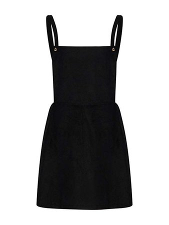 Black Corduroy Overall Mini Dress