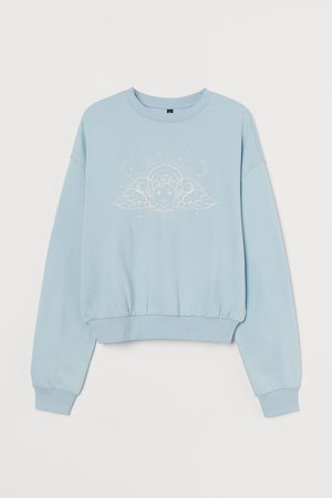 Cotton-blend Sweatshirt - Turquoise