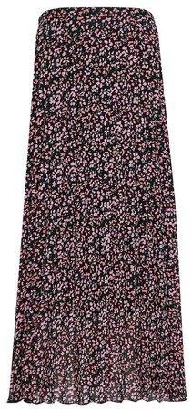 Multi Colour Floral Print Pleated Midi Skirt