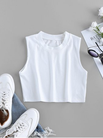 [47% OFF] [HOT] 2020 ZAFUL Ribbed Crew Neck Crop Tank Top In WHITE | ZAFUL