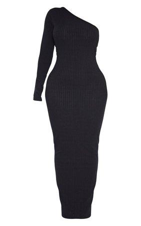 Shape Dusty Blue Knit One Shoulder Midaxi Dress | PrettyLittleThing USA