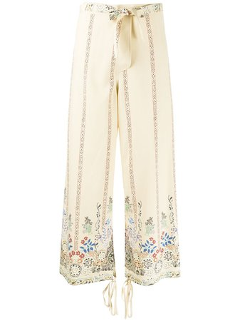 Etro Silk Floral wide-leg Trousers - Farfetch