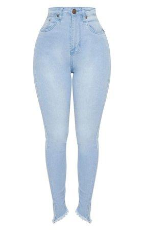 Shape Light Wash High Waisted Skinny Jeans   PrettyLittleThing USA