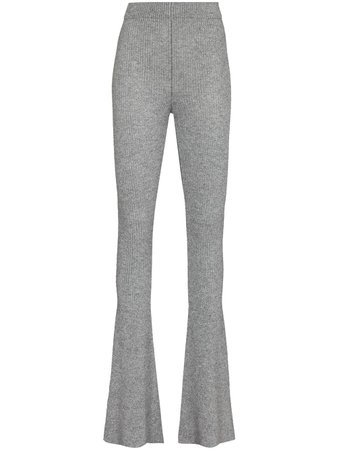 Shop Alanui Sierra ribbed-knit flared trousers with Express Delivery - FARFETCH