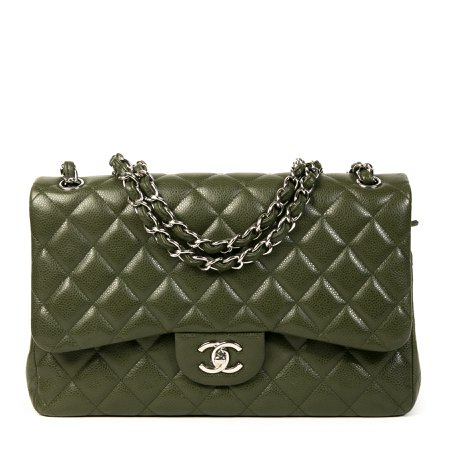Labellov Chanel Olive Green Jumbo Classic Double Flap Bag ● Buy and Sell Authentic Luxury