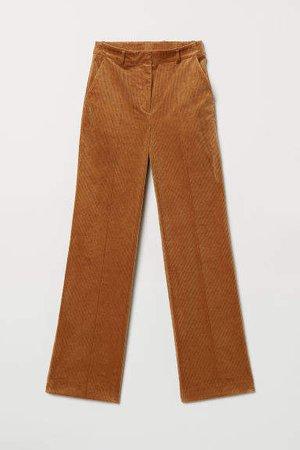 Wide-leg Corduroy Pants - Beige