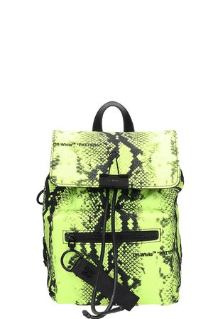 Off-White Yellow Fluo Nylon And Leather Backpack