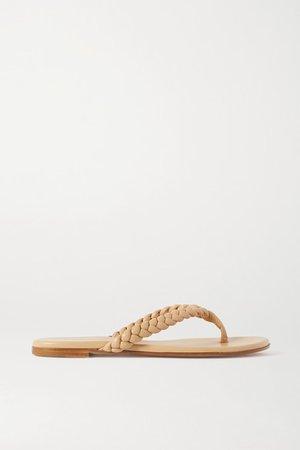 Braided Leather Flip Flops - Beige