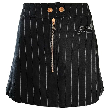 """1990s Jean Paul Gaultier """"Safe Sex"""" Black and White Pinstripe 90s Mini Skirt For Sale at 1stDibs"""