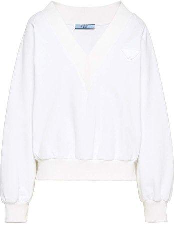 logo patch v-neck sweatshirt