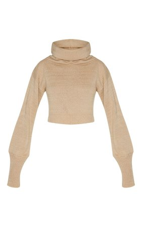 Camel Roll Neck Cropped Jumper | Knitwear | PrettyLittleThing