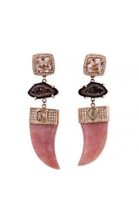 14K Rose Gold Druzy and Peruvian Opal Tusk Earrings by Jacquie Aiche | Moda Operandi