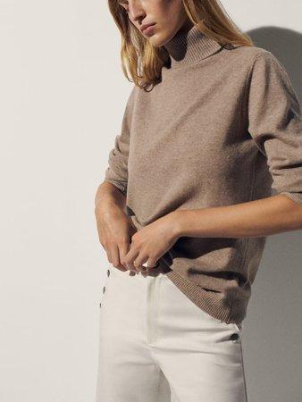 100% cashmere turtleneck sweater - Women - Massimo Dutti