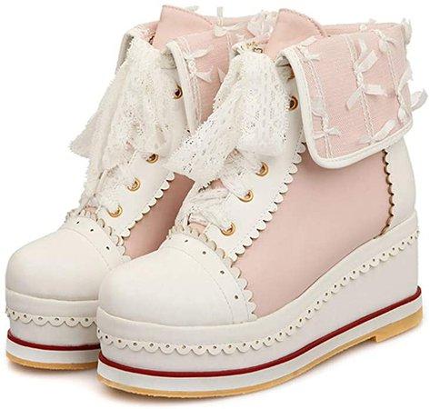 Amazon.com | HILIB Women's Cute Lolita Boots Cosplay Brogue Wedge Boots | Boots