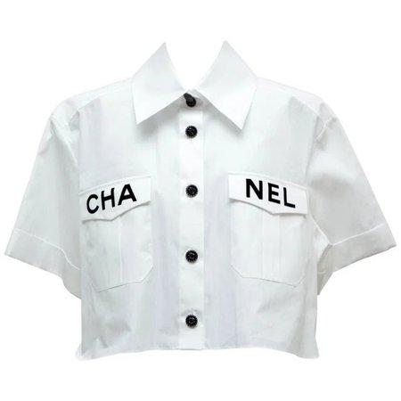 CHANEL Tops | Authentic White Button Down Shirt Size M | Poshmark