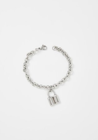 Padlock Chain Bracelet Lock Silver | Dolls Kill