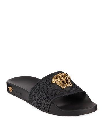 Versace Palazzo Medusa Pool Slide Sandals | Neiman Marcus