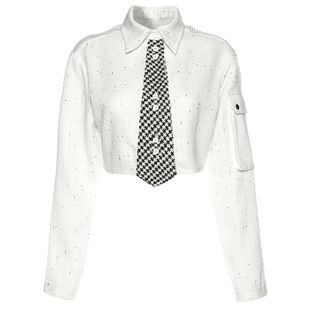 JESSICABUURMAN – VASON Necktie Long Sleeves Cropped Top