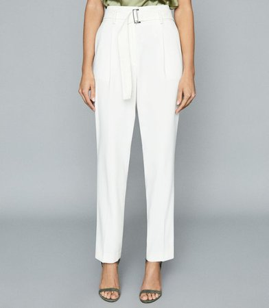 Mia White Belted Straight Leg Trousers – REISS