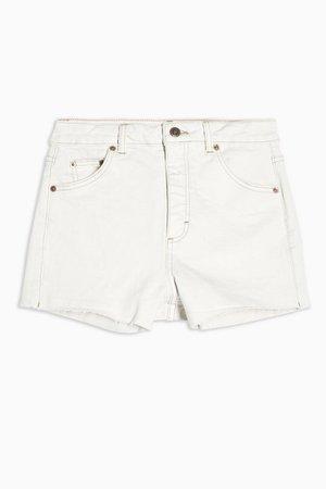 CONSIDERED Premium White Denim Mom Shorts | Topshop