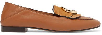 Logo-embellished Suede And Leather Collapsible-heel Loafers - Tan