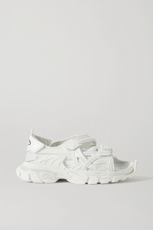 Track Logo-detailed Leather And Rubber Sandals - White