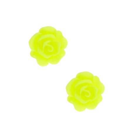 Neon Rose Stud Earrings - Yellow | Claire's US