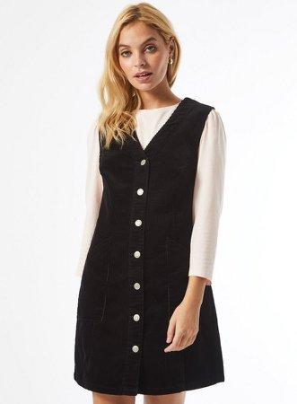 DP Petite Black V-Neck Corduroy Pinafore Dress