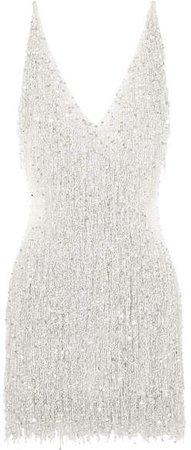 Gatsby Embellished Chiffon Mini Dress - White