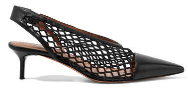 Fishnet And Leather Slingback Pumps - Black