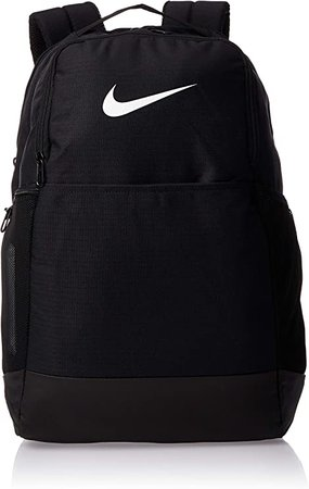 Nike Brasilia Medium Training Backpack, Nike Backpack for Women and Menwith Secure Storage & Water Resistant Coating, Black/Black/White