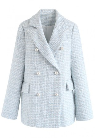 Pearl Buttons Trimmed Tweed Blazer in Blue - NEW ARRIVALS - Retro, Indie and Unique Fashion