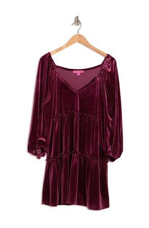 V-Neck Tiered Burnout Velvet Dress   Nordstromrack