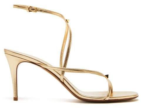 Rockstud Embellished Metallic Leather Sandals - Womens - Gold