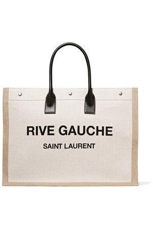 SAINT LAURENT | Shopper Tote aus bedrucktem Canvas mit Lederbesatz | NET-A-PORTER.COM