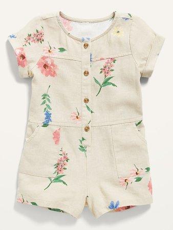 Short-Sleeve Linen-Blend Floral Romper for Baby | Old Navy
