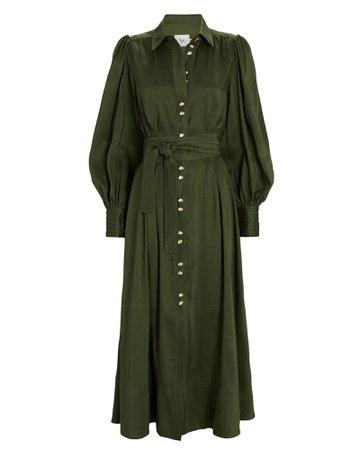 Aje Oxidised Silk-Linen Shirt Dress   INTERMIX®