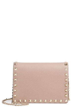 VALENTINO GARAVANI Rockstud Leather Pouch Wallet on a Chain | Nordstrom
