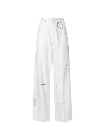 White pants w/ writing