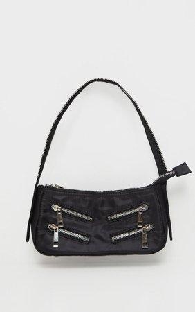 Black Satin Front Zip Detail Shoulder Bag | PrettyLittleThing USA