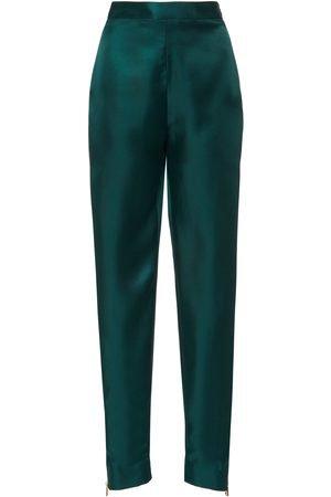 BRANDON MAXWELL High-Rise Zip-Detailed Silk Cigarette Pants