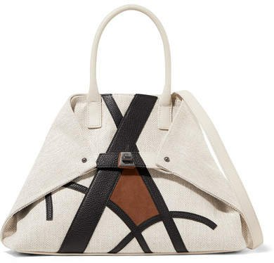 Ai Small Suede And Textured Leather-trimmed Canvas Shoulder Bag - Sand