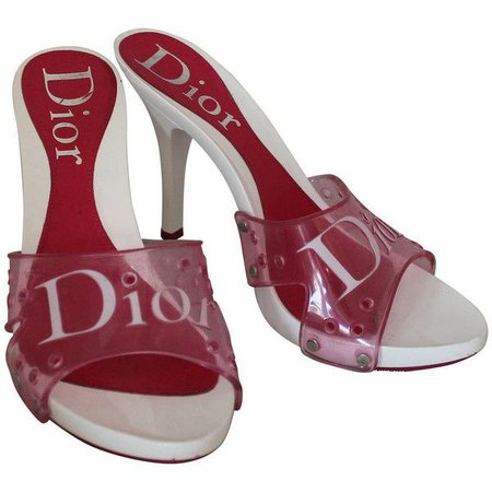 Vintage Christian Dior Pink and White Heels