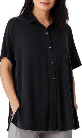 Short Sleeve Jersey Button-Up Top
