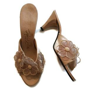Sweetest Pink Satin Flower Trimmed Mule Style Boudoir Slippers circa 1 – Dorothea's Closet Vintage