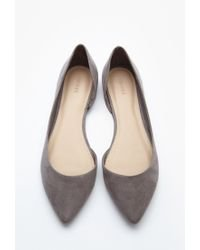 Forever 21 Pointed Faux Suede Flats in Gray - Lyst